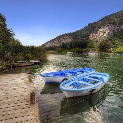 Boat moored on river at Dalyan