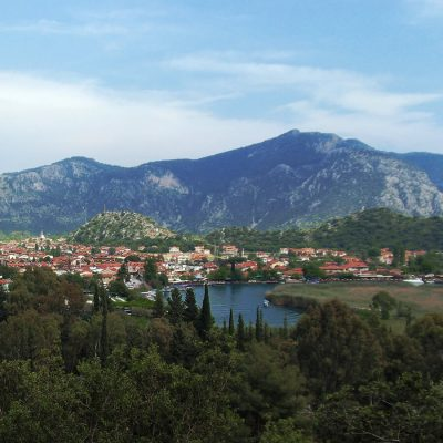 view of dalyan from lycian tombs sq 900